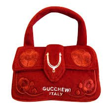 GUCCHEWI RED FLORAL PURSE-peluche borsetta