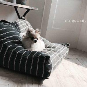 THE DOG LOUNGE BLACK STRIPES cuscinone Black Mayo